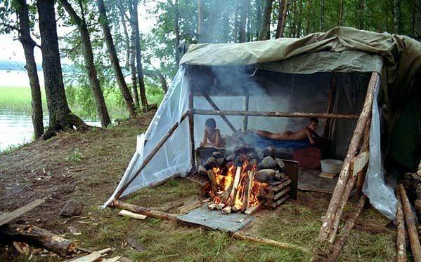 Как сделать баню в походных 68